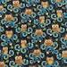 Owl In The Dark - Cotton Linen Fabric - half yard