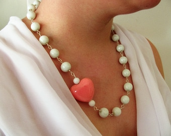 White  necklace with pink heart. White and pink necklace. Romantic necklace.