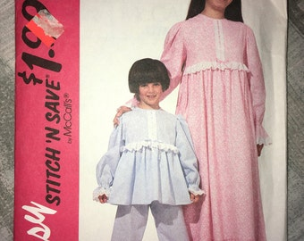 Stitch n Save by McCall's Uncut Vintage Dynamite Tween / Teen Nightgown, Top & Pants Pajamas or Costume Pattern No. 6822  Circa 1993
