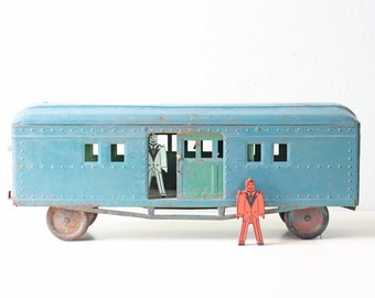 Vintage Toy Train Car, Metal Blue Train with Sliding Doors