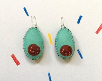 Halved Avocado Felted Drop Earrings