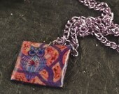 Owl Pendant on Purple Chain Resin Colorful Square