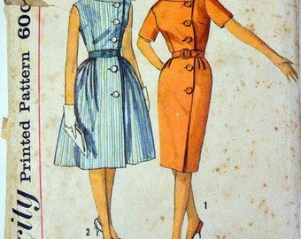 Vintage 1960's Sewing Pattern Simplicity 4399 Misses Dress  Size 14 Bust 34