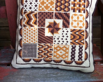 """vintage  handmade needlepoint  pillow vintage 13"""" by 13"""" inch bargello fall colors oranges browns"""