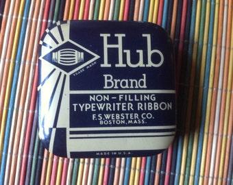 "vintage Hub Brand Non Filling typewriter ribbon old metal tin store herbs in it 2 1/2"" by 3/4"""
