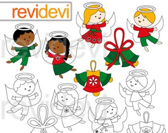 December Angels clipart / Cute angel clip art / digital images / christmas graphics / commercial use