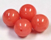 VINTAGE CORAL CHALCEDONY Stone Beads 10mm pkg4 rb9