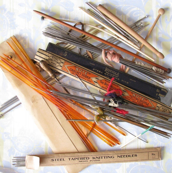 Knitting Needle Sizes Old And New : On needles big lot of old knitting tools