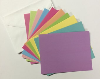 10 Cards and envelopes - Pastel Mix - blank notes 4.25 x 5.5 ready for embellishing