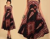 ViNtAgE 60's 70's Cotton Dashiki Wrap Dress // Rare Convertible Black Cotton Tribal Dress // Bohemian HiPPiE BoHo // Open Back XL Large L