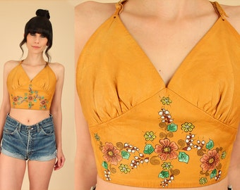 ViNtAgE CHAR Leather Crop Top 60s 70s Hand Painted Woodstock Era OPEN Back Festival Shirt Bohemian Floral Artisan Hippie BoHo Gypsy Midriff