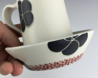 Black and White Pottery Mug, Ceramic Mug,  Coffee Mug, Coffee Cup, Unique Mug, Porcelain, Gift For Her Mugs, Ceramic Wedding Gift