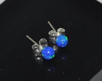 4mm Blue Opal Ball Stud  Earrings, Opal Earrings, Sterling Silver Earrings,  Australian Opal, 925 Sterling Silver, Pacific Blue Opal