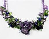 purple flowers garden necklace lamp work flowers macrame necklace handmade jewelry bib necklace statement necklace flower bib necklace