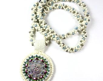 Ivory beadwork Pendant Necklace Kumihimo Beaded Pendant Necklace Handmade Jewelry
