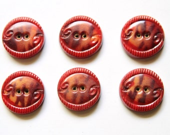 Supplies - 6 matching red celluloid tight top buttons, vintage button lot