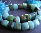 Peruvian Opal cube beads semiprecious gemstone faceted 9mm 8 inches