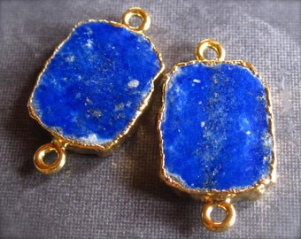 Pair of Lapis Lazuli Gold Plated Connectors - semiprecious stone - 22mm X 12mm
