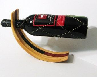 Amazing Balancing Wine Bottle Holder Made Of Three Woods