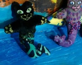 Micro Cat Doll Tiny Black Mercat Cute little kitty Pin Fit her in your hand made to order