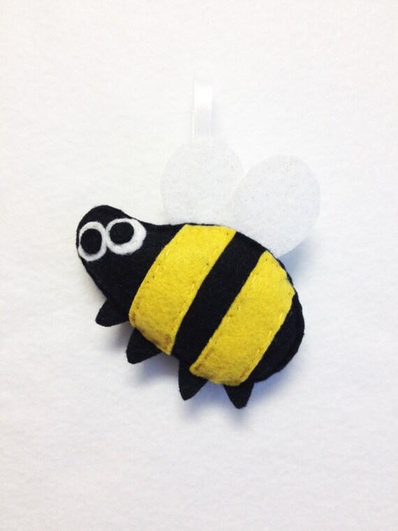 Bumble Bee Ornament, Christmas Ornament, Milton the Bumblebee, Felt Animal, Felt Insect, Bug, Coworker Gift under 15