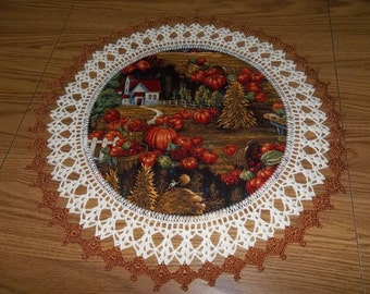 Fall Harvest Crochet Doily 18 Inches Fabric Center Crocheted Edging Table Topper Centerpiece Handmade Fall Doily Gift Home Decor