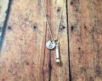 Paintbrush initial necklace - paintbrush jewelry, gift for painter, artist jewelry, gift for art teacher, silver paint brush necklace