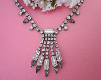 Vintage Rhinestone Necklace / Wedding Necklace