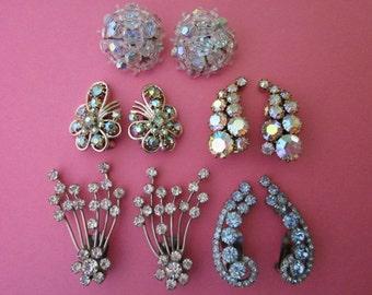 Earrings DeStash 5 pairs Rhinestone and Bead Clip Earrings