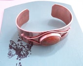 Copper cuff bracelet with Picasso jasper cabochon, copper jewelry - hand forged - stone bracelet -