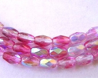 New 36 Czech Glass Oval Beads MIXED PINKS AB 4x6mm