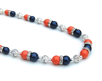 Navy and Coral Necklace, Navy Coral Wedding Jewelry, Bridesmaid Necklaces, Coral Navy Pearl Jewelry, Navy Wedding