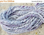 june flash sale Twilight After Snow - Handspun Yarn. Plied, Winter Inspired, Aran to Bulky Weight. About 75 yards. Purple, Horizon Blue, Whi