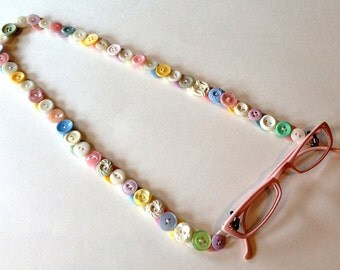 Eyeglass Chain in Vintage Buttons - Pastels