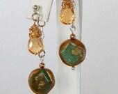 Front Back Earrings Cirtine Double Sided Earrings Gemstone Earrings Dangle Earrings Trending Earrings Mix And Match Gift For Her