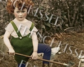 Carrot Top Gardener Boy with Wheelbarrow Customized Closeup Antique Postcard Instant Download