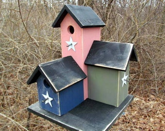 Primitive Country Condo Birdhouse Dusty Rose Navy Olive Green Three Nesting Boxes