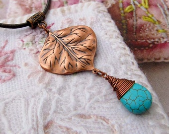 copper Leaf necklace turquoise necklace leather cord Bohemian Boho jewelry