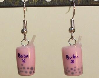 Miniature Boba tea Earrings, handmade, polymer clay, bubble tea, thai tea, tapioca balls, strawberry, dangle, pho, boba life