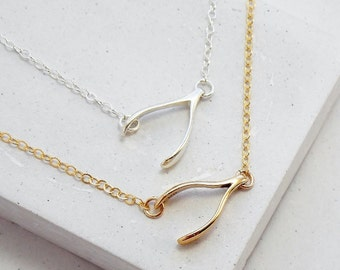 Wishbone Charm Necklace | Sideways Wishbone Necklace | Layering Necklace | Delicate Everyday Jewelry | Silver or Gold