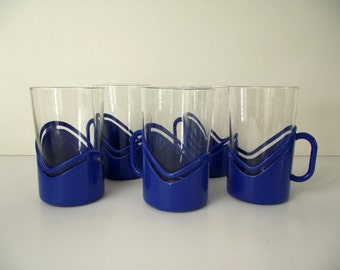 Picnic Glasses Blue Plastic Holders with Glass Inserts Set of Five