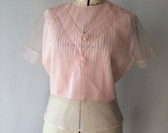 1950's Semi Sheer Sweetheart Blouse - Perfect Pin Tucked Pleats - Sheer Sleeve and Hem, Styled By Barry