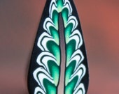 Green Polymer Clay Feather Leaf Cane -'Dark Eden' (34ee)
