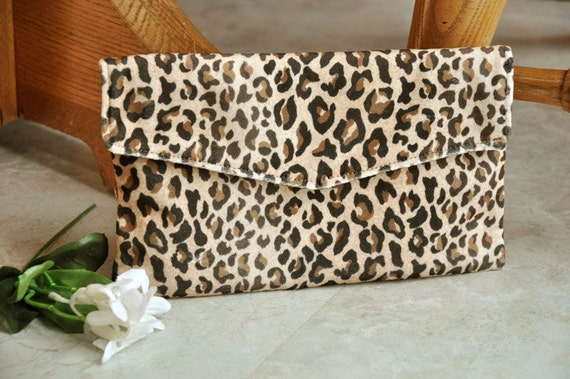 Beautiful Clutch Purse Leopard Print Velour Clutch Bag Soft