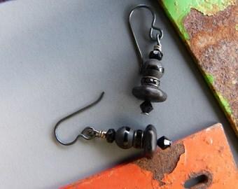 Simple Solid Black Earrings