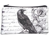 Victorian Gothic Raven Makeup Bag  Zipper Pouch Wallet Gadget Bag Clutch