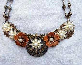 Victorian Inspired Bib Necklace with Neutral Color Flowers