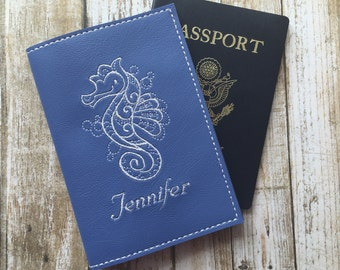 Personalized Passport Cover for Women - Blue Faux Leather Passport Holder - Seahorse Motif Passport Cover with Name - Travel Gift for Her
