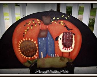 Primitive Pumpkin-Sunflower-Sheep-Fall-Door Crown Topper-Home Decor Decoration