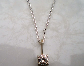 Sterling Silver and Cubic Zirconia Solitaire Necklace